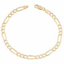 "14 Karat Yellow Gold Solid Classic Figaro Chain Bracelet 3.1mm 7"" 2.6grams +Gift"