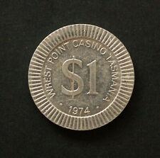1974 Wrest Point Casino $1 One Silver Dollar POKER CHIP Aluminium Tasmania