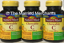 (3) Nature Made Chewable Vitamin C 500 mg Orange Flavor 60 Tablets each 5/2020
