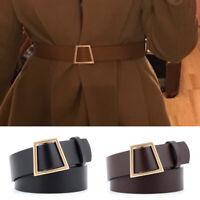 Women Jeans Pin Buckle Leather Belts Luxury Punk Wide Belt Waistband Dress WeaWG