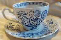 J G Meakin Classic White Nordic China TEA COFFEE CUP AND SAUCER..BLUE ONION