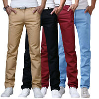 New Mens Casual Chino Pants Cotton Straight Business Solid Color Trousers New.