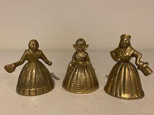 Three Small Brass Lady Figurine Bells Antique Vintage