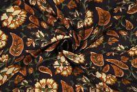 Indian Black Floral 100%Cotton HandBlock Print 2.5 Yard Craft Fabric Dressmaking