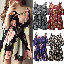 Women Boho Floral Sleeveless Cocktail Party Beach Sundress Short Dress Plus Size