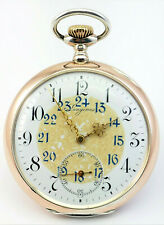 c1911, FULLY WORKING ANTIQUE LONGINES GOLD & SILVER OPEN FACE POCKET WATCH