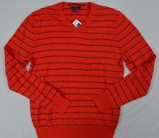 GAP Mens Orange V-Neck Striped Cotton Lightweight Sweater size M