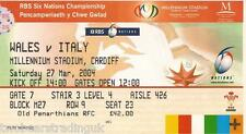 WALES v ITALY (Rugby Union Six Nations 27.3.2004) Used Match Ticket