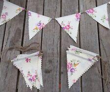 Bunting - Cream Floral Farmhouse Shabby Chic Rustic Wedding Fabric & String 5ft