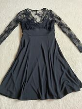 NEXT Size UK12 Ladies Dress stretch Black lace top long sleeves fit & flare