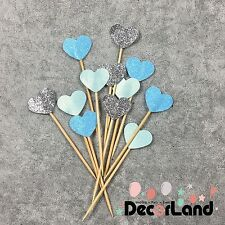 12Pcs Glitter Blue Heart Cupcake Toppers Food Picks Party Decor