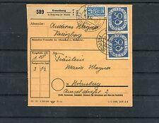 Paketkarte Kreuzberg-Nürnberg BRD Mi.-Nr. 132+134 MiF - b3047