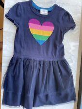 Girls Hanna Andersson 110 navy blue heart tulle sweater dress 110 4-5 EUC