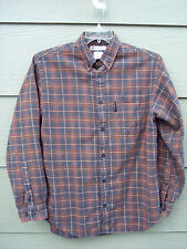 Columbia Man Casual Shirt Sz M Brown Plaid Long Sleeve Cotton Button Front