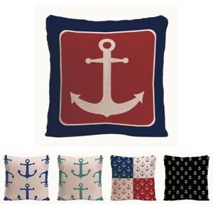 Geometric Anchor Cushion Cover Decorative Pillow For Sofa Car Blue Hooks Covers
