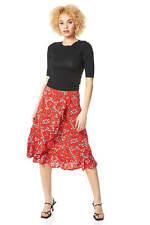 Roman Originals Women Knee Length A-Line Boho Ruffle Frill Ditsy Floral Skirt