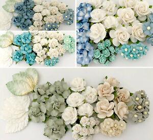 Special 45pc Mulberry Paper Flower Kits DIY Wedding Headpiece Scrapbook Crafts