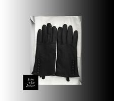 Vtg 1 Owner* Black Leather 100% Cashmere Gloves Womens Winter Size L 8