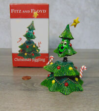 New Fitz & Floyd Jiggling Christmas Tree Figurine Smiling Wiggle Head Arms Star!