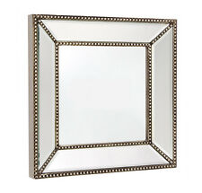 NEW ANTIQUE SILVER FRAME SMALL SQUARE BEADED WALL MIRROR ART DECO MIRROR