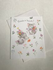 Unused Vintage Hallmark Thank You Note Card Cute Mouse Flowers