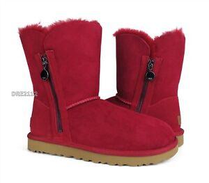 UGG Bailey Zip Short Kiss Suede Fur Boots Womens Size 8 *NIB*