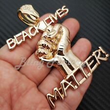 "Black Lives Matter Fist Pendant & 16"" 18"" 20"" Full Iced Cuban Chain Necklace"