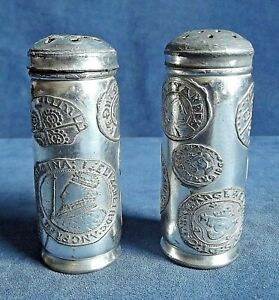 Old PAIR ~ SILVER Plated ~ COIN Design ~ SALT & PEPPER Shakers ~ c1900