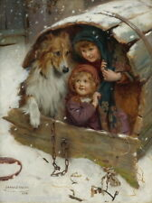 1898 Elsley~Collie Dog with Kids Playing in Barrel Dog House~New Lge Note Cards