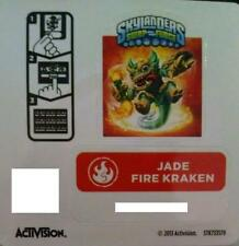 Jade Fire Kraken Skylanders Swap Force Sticker/Code Only!