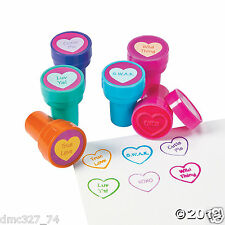 12 VALENTINE'S DAY Party Favors CONVERSATION HEART Mini STAMPERS Stamps