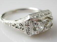 Art Deco Diamond Ring 18K White Gold Double Old European Cut Antique WHITE ROSE