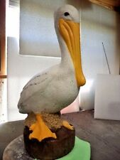 LARGE WHITE PELICAN HAND PAINTED CEMENT GARDEN STATUE, PENSACOLA, FL