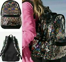 Victoria's Secret Pink Backpack Rainbow Sequin Sequins Large Campus Style BP60