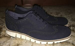 COLE HAAN Zero Grand Navy Blue Suede Wingtip Oxford Dress Shoes BOYS NEW Mens 7