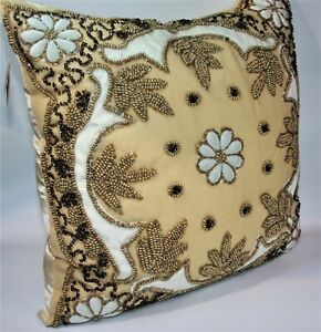 """Deluxe Champagne Color Throw Pillow 18"""" x 18""""    Hand Crafted"""