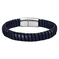 9ac3ddada87b Pulsera Lotus Style hombre Ls1879-2 3 acero cuero negro y azul