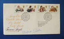 1980 famosos escritores, primer día cubierta Firmado Por Sylvia Syms