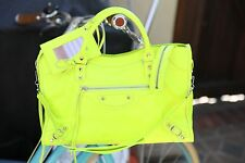 ✨❗️ Authentic $1835 Balenciaga Classic Silver City Jaune Soleil Neon Yellow Lime