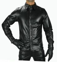 MENS REAL BLACK LEATHER POLICE MILITARY STYLE SHIRT FULL SLEEVES