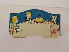 Vintage 1930s Birthday Party Kids Themed Metal Place Card Holder