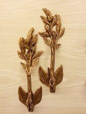 2x Brass Door Handle Hibiscus Leaf Figurine Pull Hand Door Cupboard Home Decor