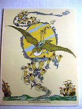 Beautiful 1960 Cruise Ship Menu with Mermaid Flying On Back of Gull Image