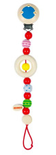 HEIMESS 733940 Wooden Stripes and Spots Clip on DUMMY/SOOTHER/PACIFIER Chain NEW