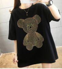 Summer Korean Style Women Casual Short-sleeved Rhinestone Cute Bear T-shirt