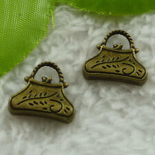 Free Ship 100 pcs  bronze plated handbag charms 15x14mm #2543