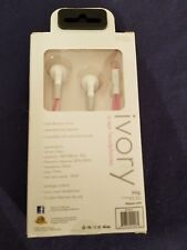 iHip In-Ear Headphones Fiber Cord In-Line Microphone iPod iPhone IVORY Sapphire