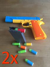 2X M1911 Colt 45 Prop Pistol Costume Toy Gun Rifles Magazine Slide Shoot Bullets