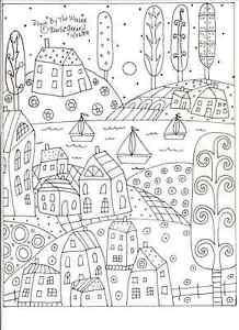 Rug Hooking Craft Paper Pattern DOWN BY THE WATER Folk Art PRIM Karla Gerard