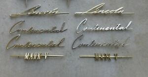 1958 1959 1960 Lincoln Continental Mark V Gold Emblem Script Badges Nameplates *